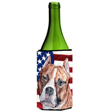 Staffordshire Cottage (Staffordshire Bull Terrier Staffie With American Flag Usa Wine bottle sleeve Hugger  24 Oz.)