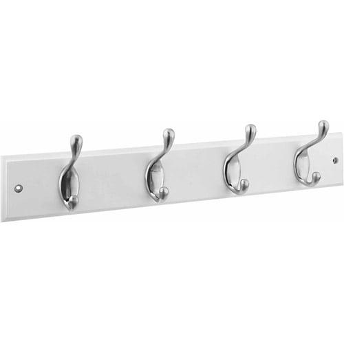 """Stanley Hardware 813030 4 Satin Nickel Hooks on 18"""" White Rail Hookrail"""