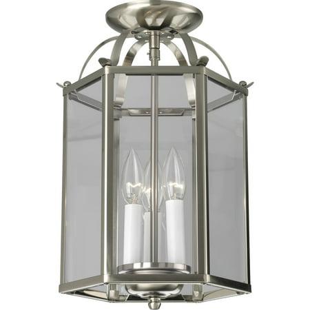 Flat Glass Three-Light Foyer Pendant