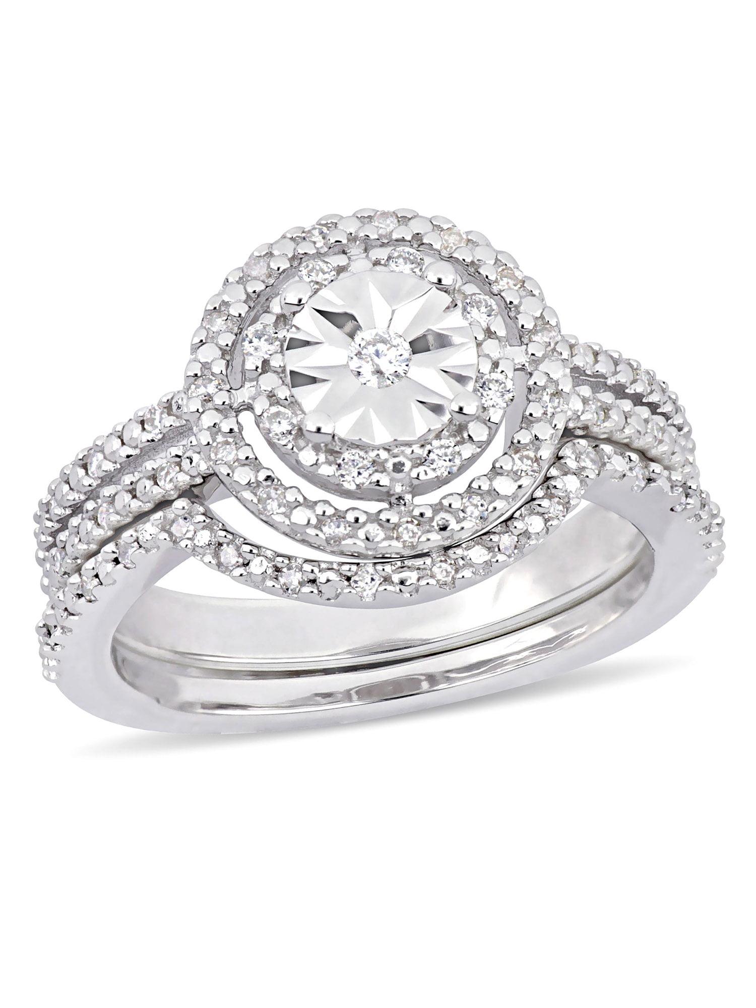 Miabella 1 4 Carat Diamond Sterling Silver Double Halo Bridal Set by Delmar Manufacturing LLC