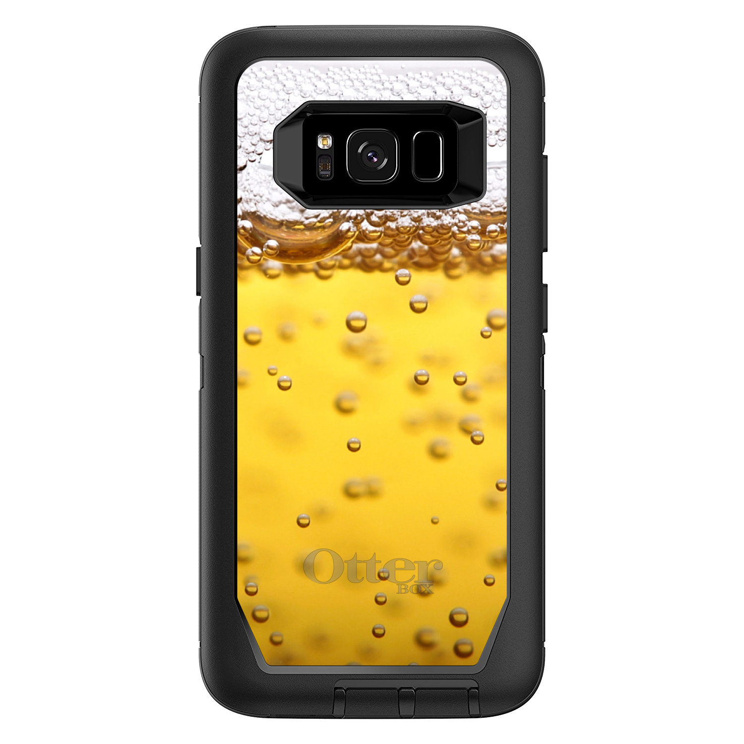 "DistinctInk™ Custom Black OtterBox Defender Series Case for Samsung Galaxy S8 (5.8"" Screen) - Beer Glass Foam Bubbles"