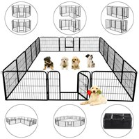 Yaheetech Metal Dog Playpen, Black, 16 Panels, 24''H