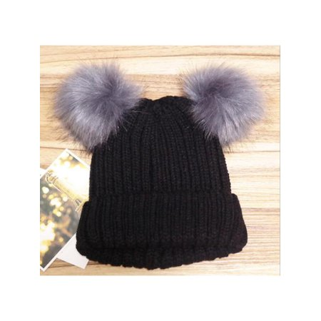 New Women's Winter Outdoor Warm Chunky Knit With Double Fur Pom Pom Cute Beanie Hats