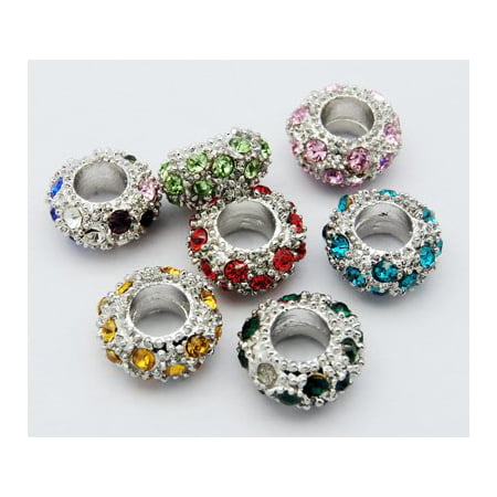 (10) Pack of Assorted Resin Rhinestone Crystal Charm Beads Compatible With Most Pandora Style Charm Bracelets - Beaded Charm Bracelets