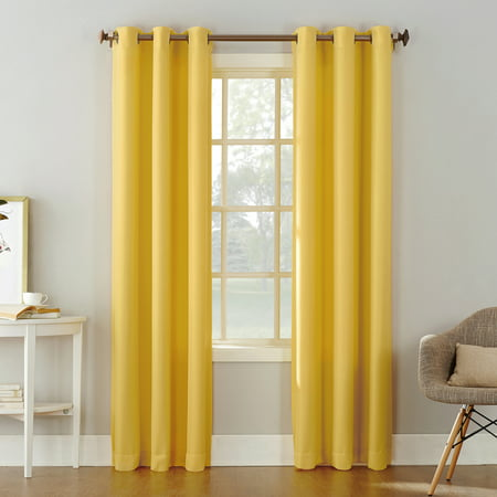 """63""""x48"""" Montego Casual Textured Grommet Top Light Filtering Curtain Panel Yellow - No. 918"""