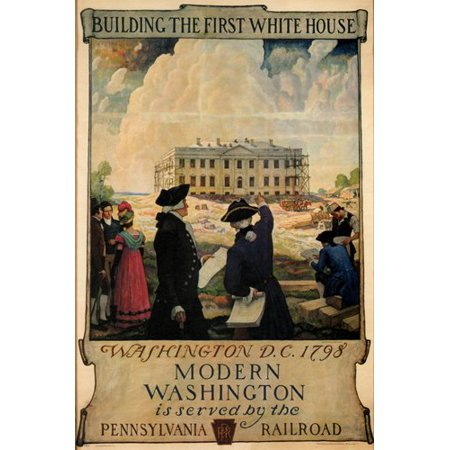 Rare First Day Covers - Building The First White House Vintage Ad Poster By N C Wyeth 24X36 Very Rare