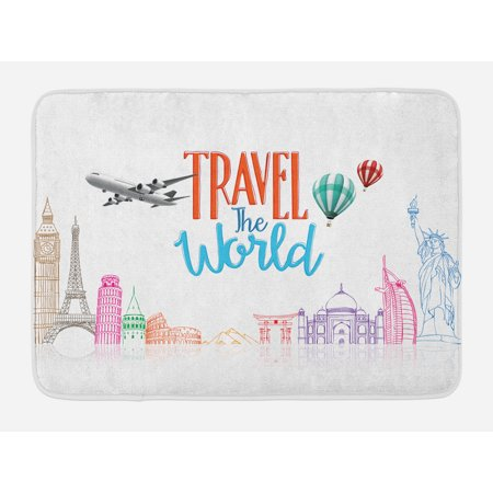 Quote Bath Mat, Travel The World Lettering with Around World Landmarks Balloons Work of Art Image, Non-Slip Plush Mat Bathroom Kitchen Laundry Room Decor, 29.5 X 17.5 Inches, Multicolor, Ambesonne (Landmarks Around The World)