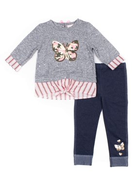 Little Lass Camo Butterfly Tie-Front Top and Knit Denim Leggings, 2pc Outfit Set (Baby Girls & Toddler Girls)
