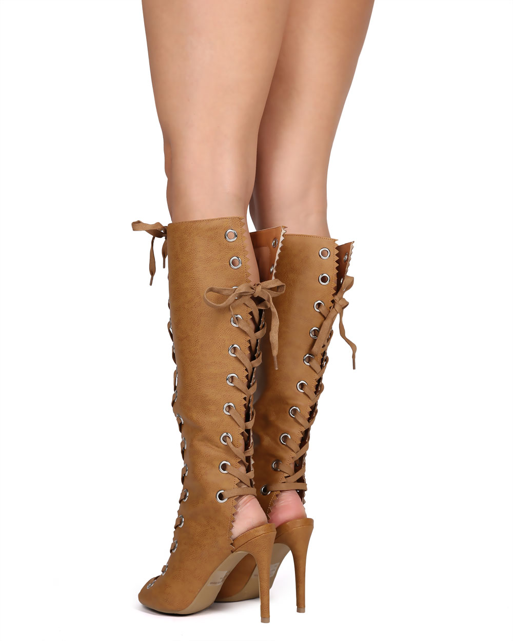 Wild Diva DH74 Women Distressed Peep Toe Knee High Ankle Cutout Gladiator Boot