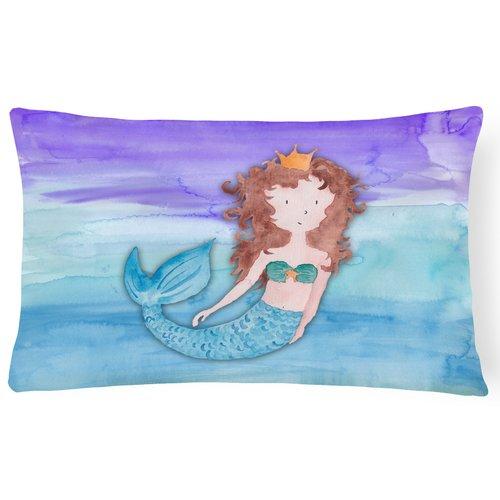 Zoomie Kids Tyler Brunette Mermaid Watercolor Lumbar Pillow