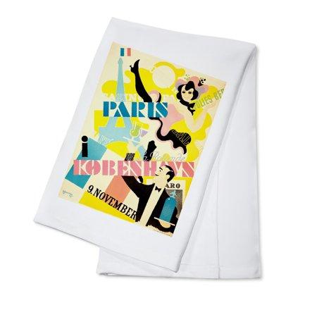 Paris I Kobenhavn Vintage Poster  Artist  Thor Bogelund  Denmark C  1945  100  Cotton Kitchen Towel