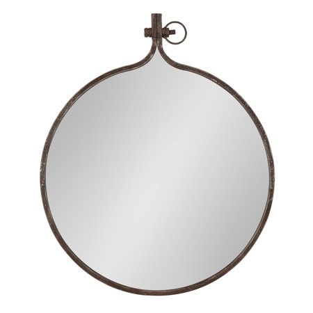 Kate and Laurel - Yitro Round Industrial Rustic Metal Framed Wall Mirror, 23.5-Inch Diameter ()