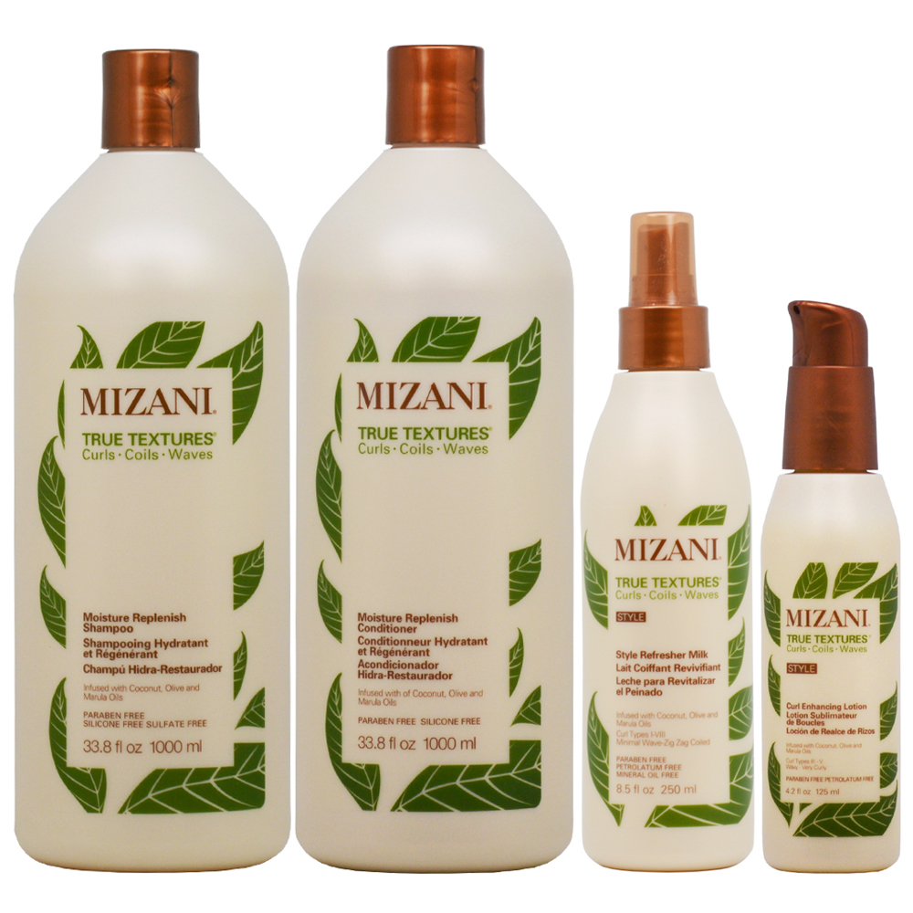 "Mizani Moisture Replenish Shampoo + Conditioner 33.8oz + Refresher Milk + Enhancing Lotion ""SET"""