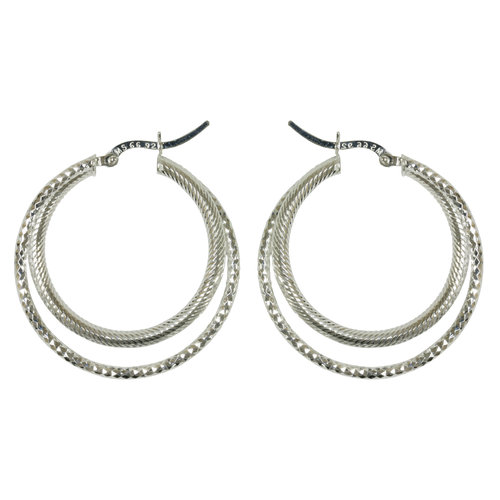 Forever New Silver Tone Double Ribbed Diamond Cut Hoop Earrings