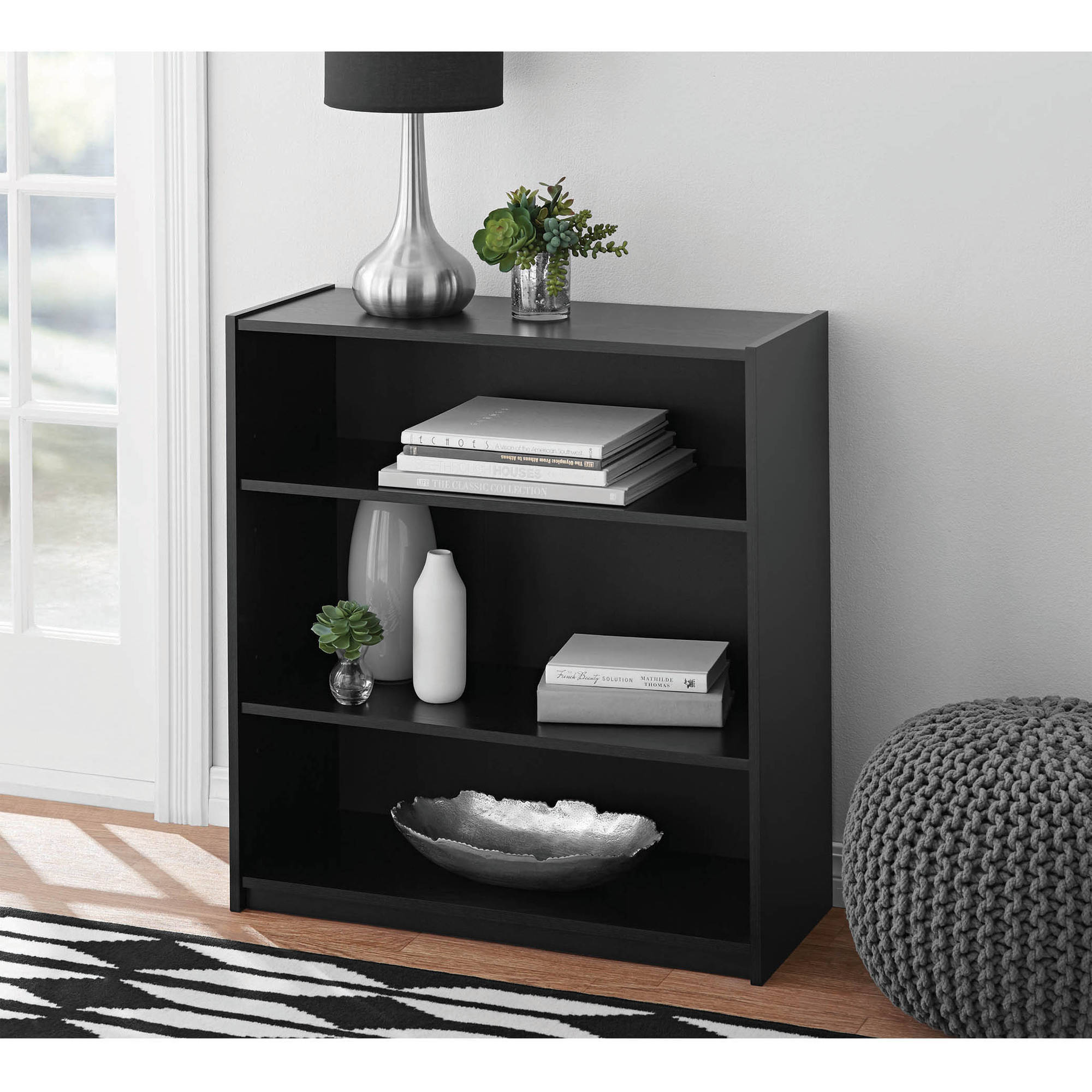 Mainstays 3-Shelf Standard Bookcase, Multiple Colors