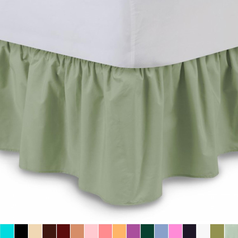 "Harmony Lane Ruffled Bedskirt - Twin, Camel, 18"" Drop Dust Ruffle with Platform"
