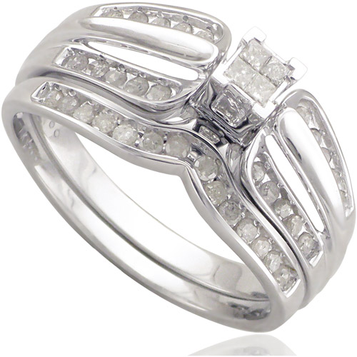 1/3 Carat T.W. Diamond 10kt White Gold Quad Top Bridal Set