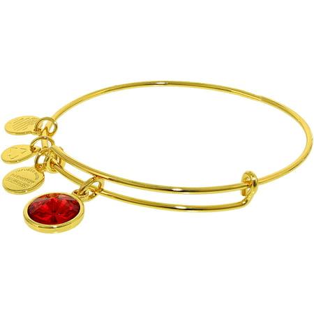 Alex And Ani Women's Crystal Birthstone July Ruby Yellow Gold Cubic-Zirconia Charm Bracelet - 8