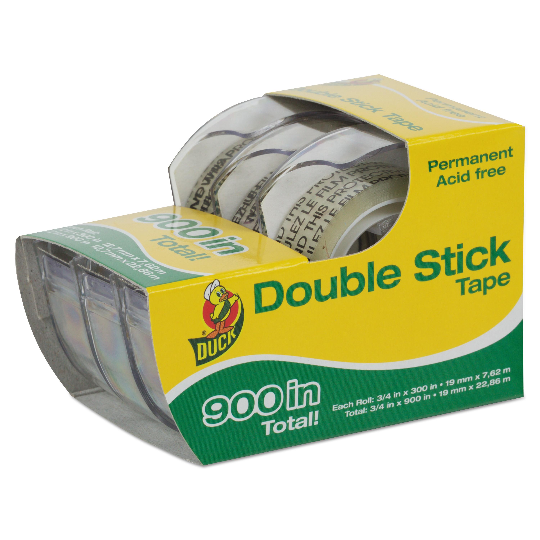"Duck 00-21087 Permanent Double-Stick Tape- 1/2"" x 300""- 1"" Core- Clear"