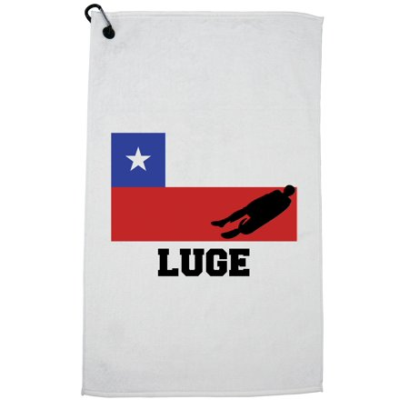 Jc Golf Accessories - Chile Olympic - Luge - Flag - Silhouette Golf Towel with Carabiner Clip