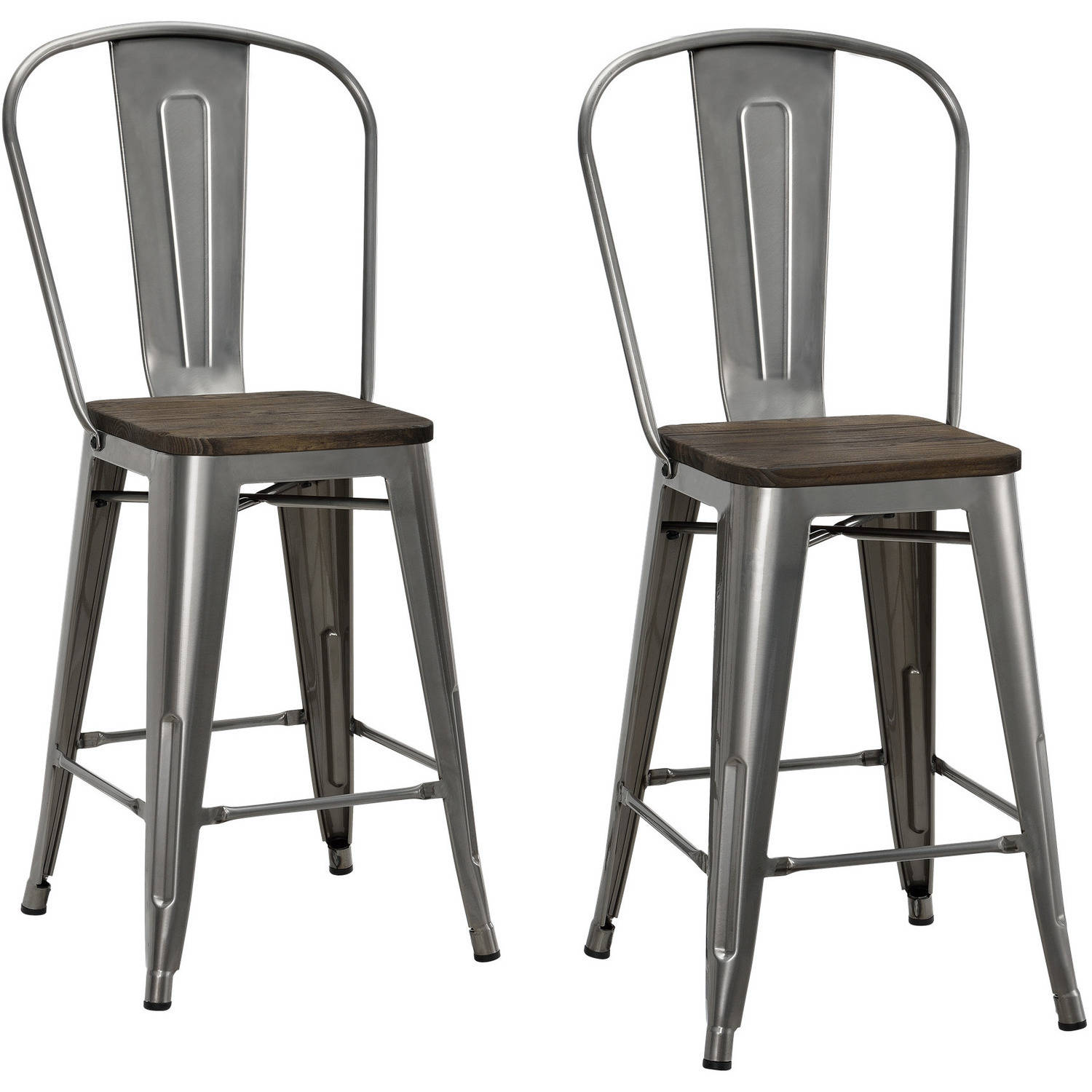 "Dorel Home Products Luxor 24"" Metal Counter Stool with Wood Seat"
