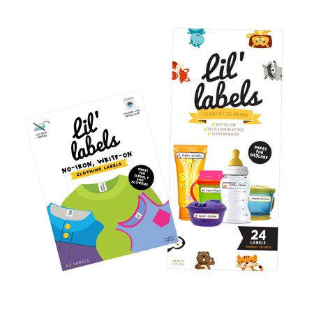 Lil' Labels Daycare Waterproof Labels Value Pack: Baby Bottle Labels (Animal Friends) and Clothing Labels (Bright White)