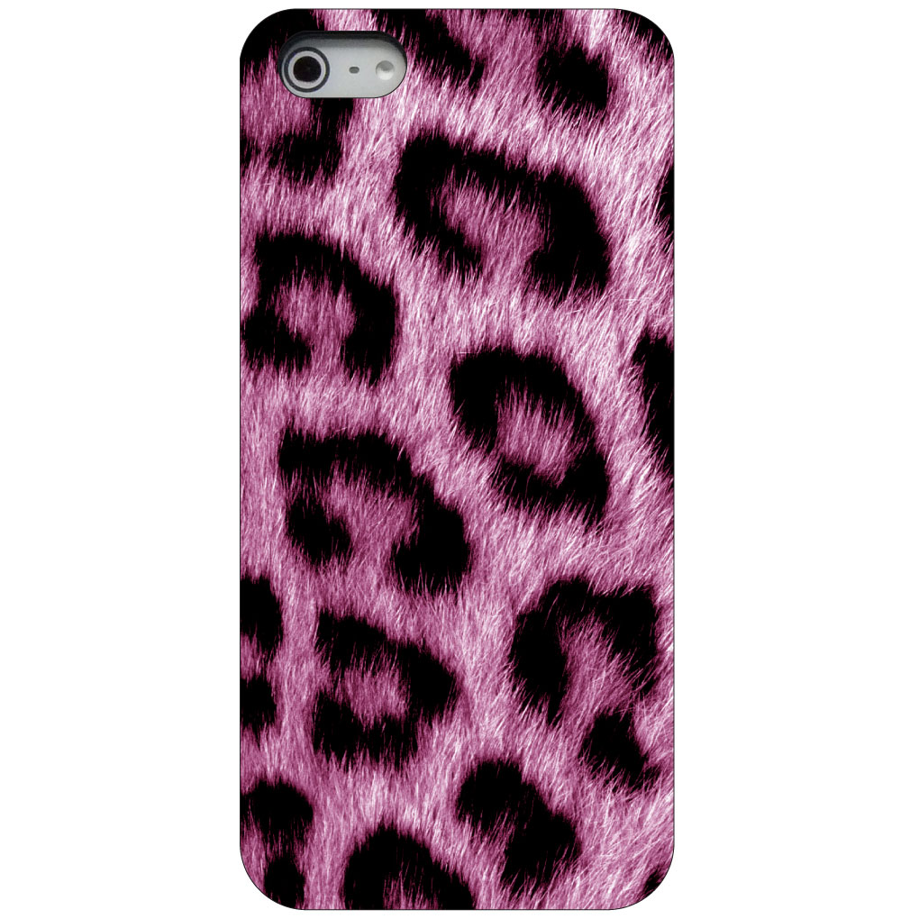 CUSTOM Black Hard Plastic Snap-On Case for Apple iPhone 5 / 5S / SE - Pink Black Leopard Fur Skin