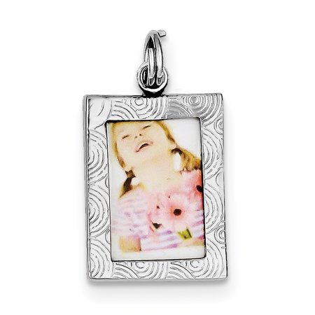 Sterling Silver Rhodium-platedPolished Picture Frame Charm QC6804 (25mm x 15mm) - image 1 de 2