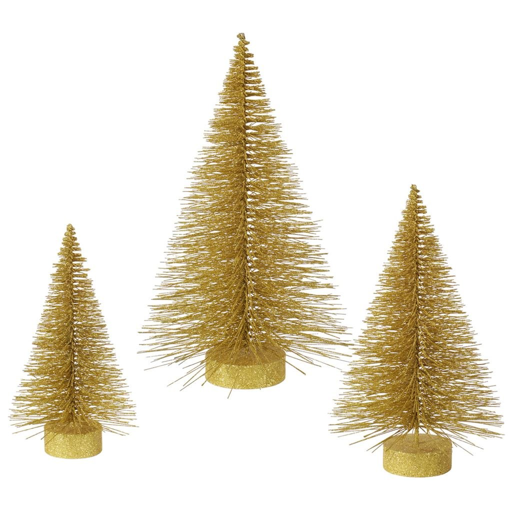 """Vickerman 16""""-20""""-24"""" Set of Three Gold Glitter Fat Cone Artificial Trees, for Indoor Use Only"""
