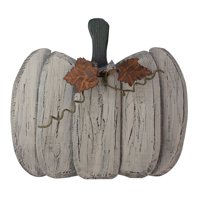 """15"""" Small White Wooden Fall Harvest Pumpkin with Leaves and Stem"""