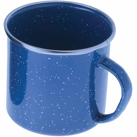 Blue Willow Cup - GSI Outdoors Stainless Steel Rim Enamelware Cup, Blue