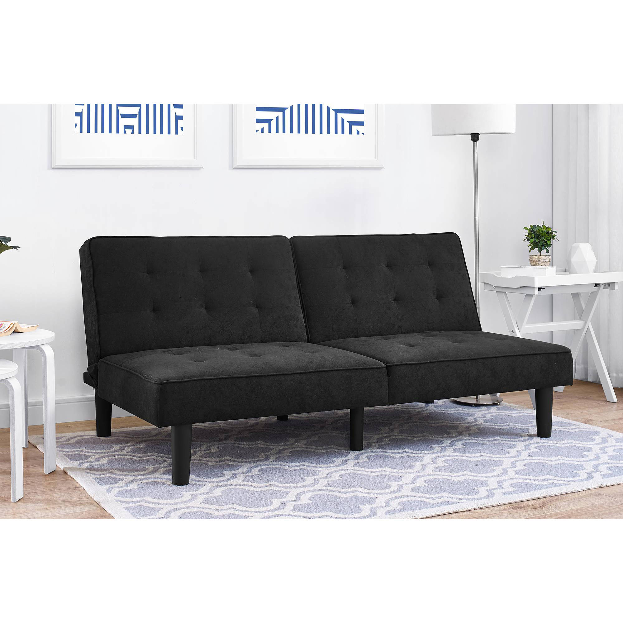 Mainstays Arlo Tufted Upholstered Futon Couch, Multiple Colors