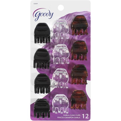 Goody Hair Hints Small Black Clear Jaw Clips Dark Brown with Spots, 12 count
