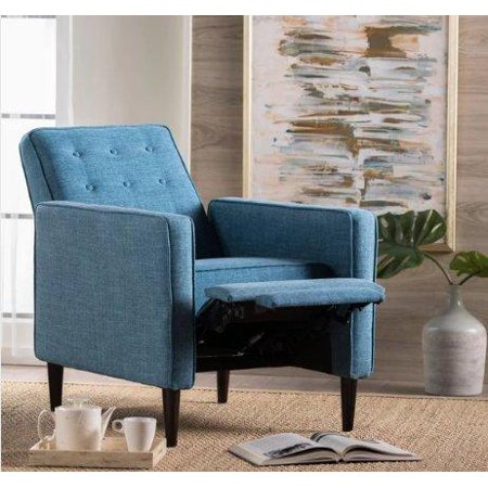 (Mid Century Modern Fabric Upholstered Button Tufted Recliner Club Chair with Solid Wood Legs in Dark Espresso Finish (Muted Blue))
