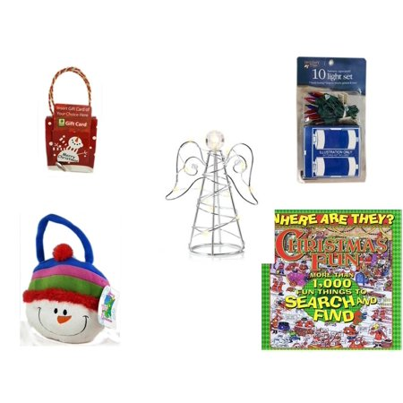 Christmas Fun Gift Bundle [5 Piece] - Musical Gift Card Holder Snowman -  Time Battery Operated 10 Light Set - RadioShack LED Desktop USB-Powered Wire Angel - Snowman  Gift Bag 14