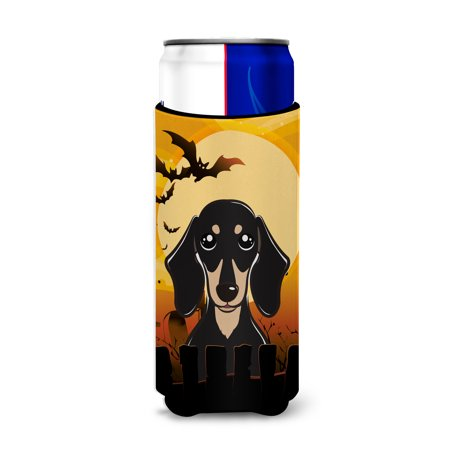 Halloween Smooth Black and Tan Dachshund Ultra Beverage Insulators for slim cans BB1773MUK](Halloween Names For Beverages)