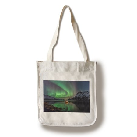 Fishing Boat on Lake & Northern Lights - Lantern Press Photography (100% Cotton Tote Bag -