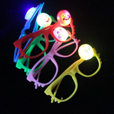 12/pk Flashing Lensless Assorted Emoji Glasses LED SunGlasses Rave Party Wear - Wholesale Wayfarer Sunglasses Bulk