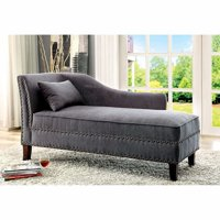 Contemporary Gray Linen-Like Fabric Chaise