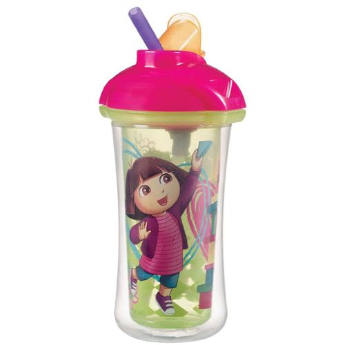 Munchkin Dora The Explorer Click Lock 9 Ounce Insulated Straw Cup - Yellow/Pink