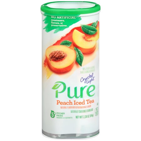 (12 Pack) Crystal Light Pure Peach Iced Tea Drink Mix, 2.28 oz Canister (5 Pitcher Pack)