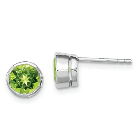 925 Sterling Silver Green Peridot Circle Stud Earrings Gemstone Fine Jewelry For Women Gifts For Her - image 1 de 6