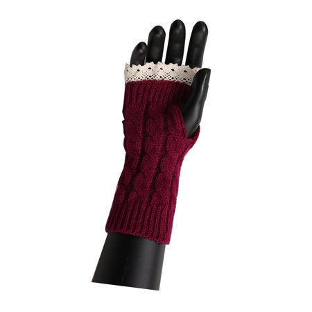 Unisex Winter Lace Warmers Ribbing Thumb Hole Gloves Burgundy 1 Pair - image 7 of 7