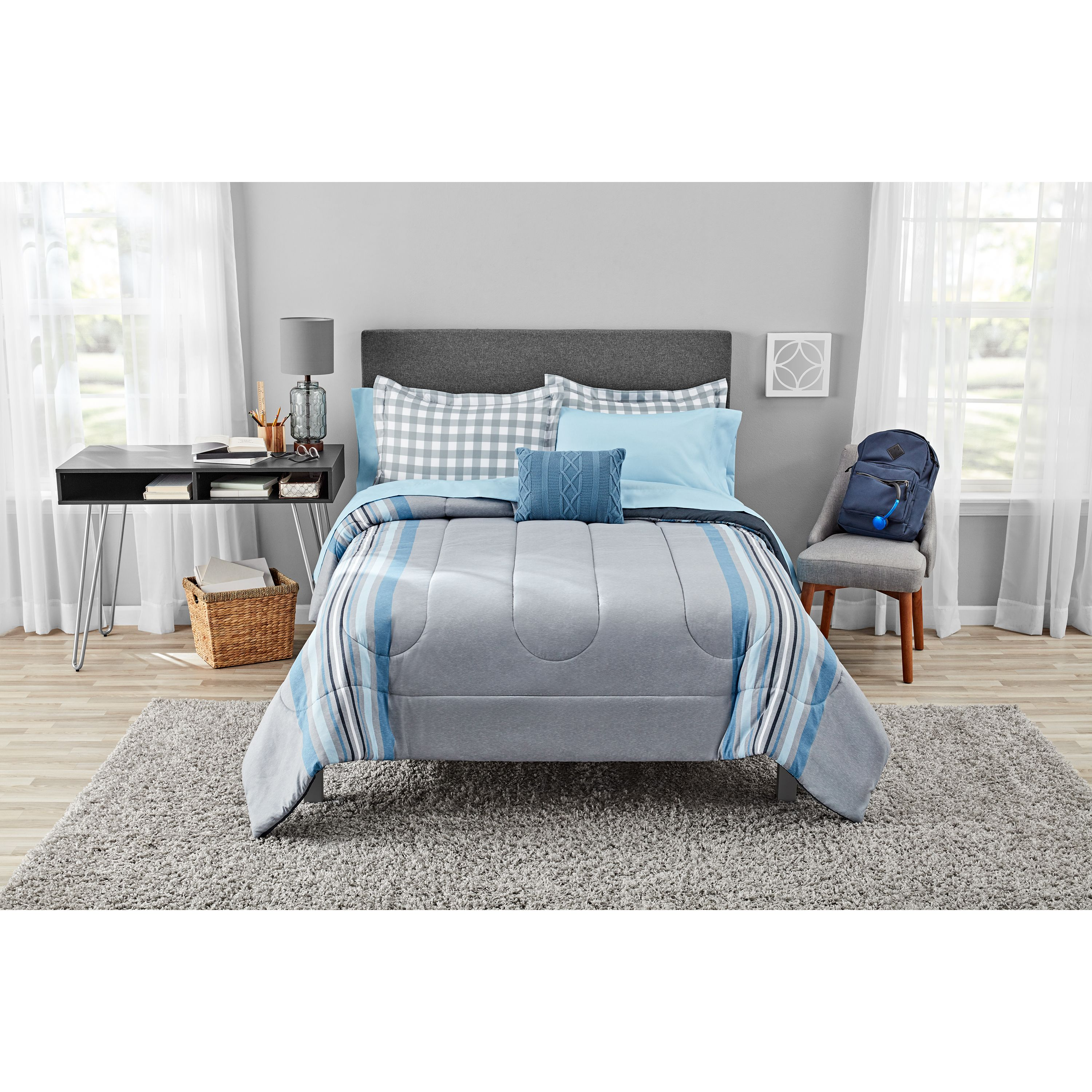 Mainstays Farmhouse Gray Stripe Bed in a Bag Bedding Set