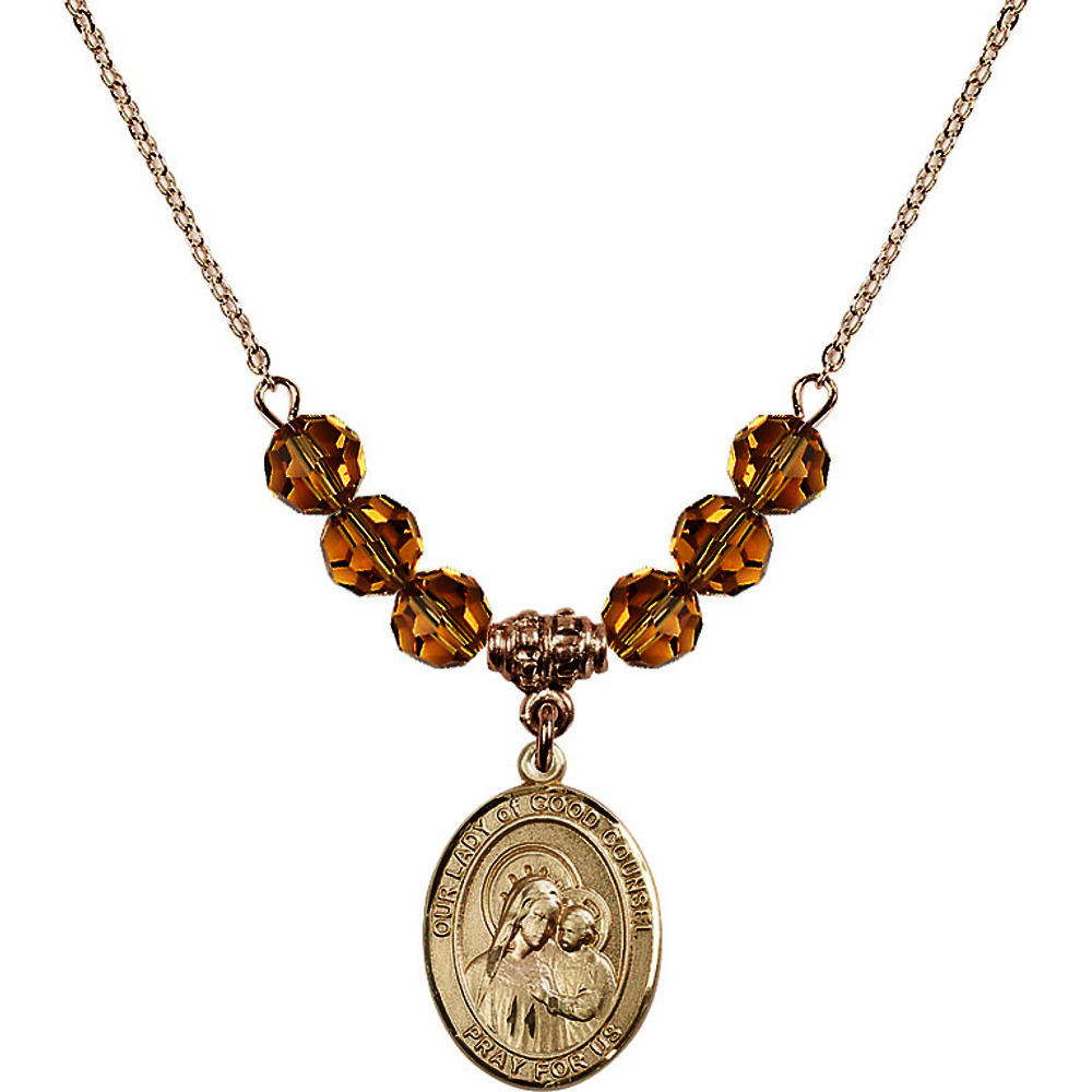 18-Inch Hamilton Gold Plated Necklace with 6mm Yellow November Birth Month Stone Beads and Our Lady of Good Counsel... by