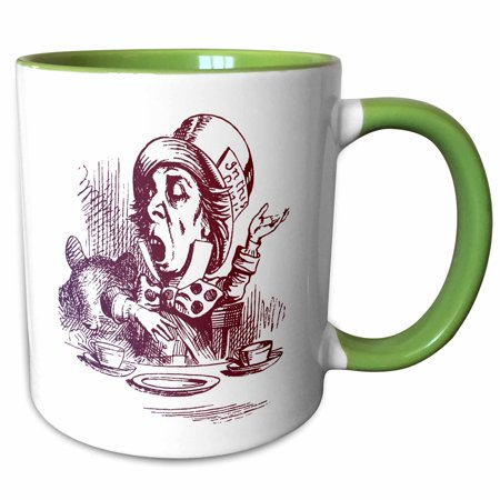 3dRose Mad Hatter Tea Party vintage Alice in Wonderland - Two Tone Green Mug, 15-ounce - Mad Hatter Party