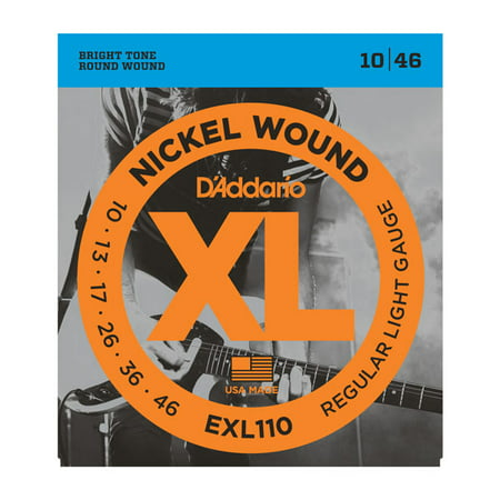 D'Addario EXL110 Nickel Wound Electric Guitar Strings, Regular Light, .010-.046 ()