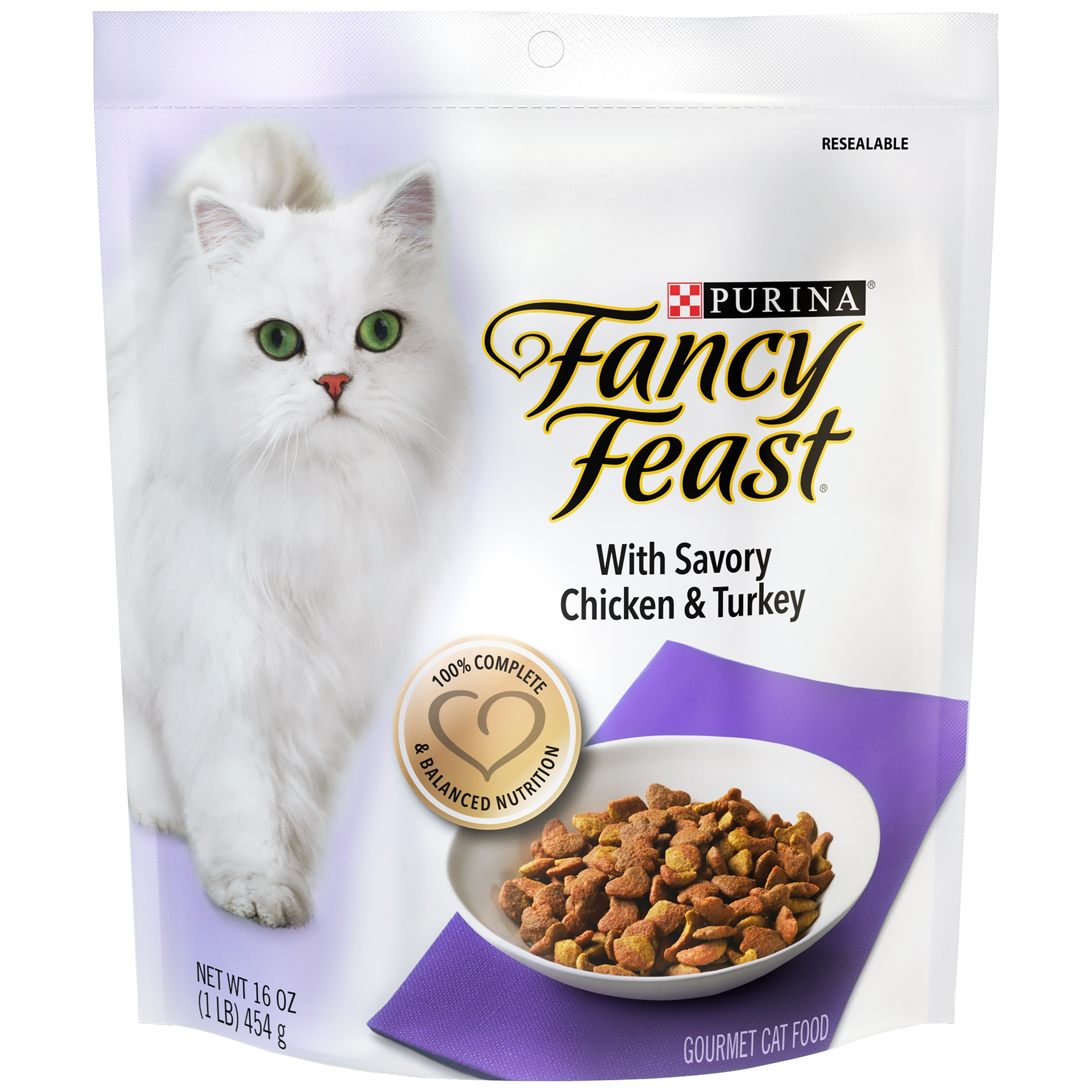 Purina Fancy Feast Gourmet With Savory Chicken & Turkey Dry Cat Food, 1 Lb