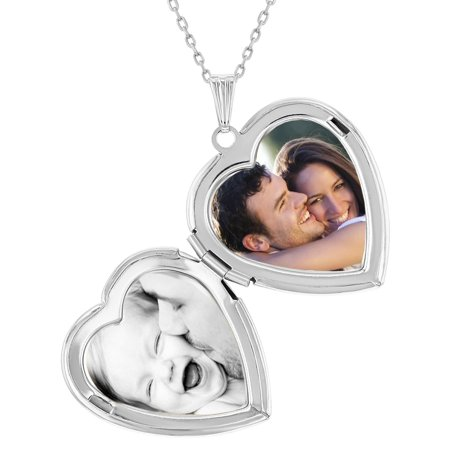 "Remembrance ""I Love You"" Photo Heart Locket Necklace Pendant 19"" - image 1 of 8"
