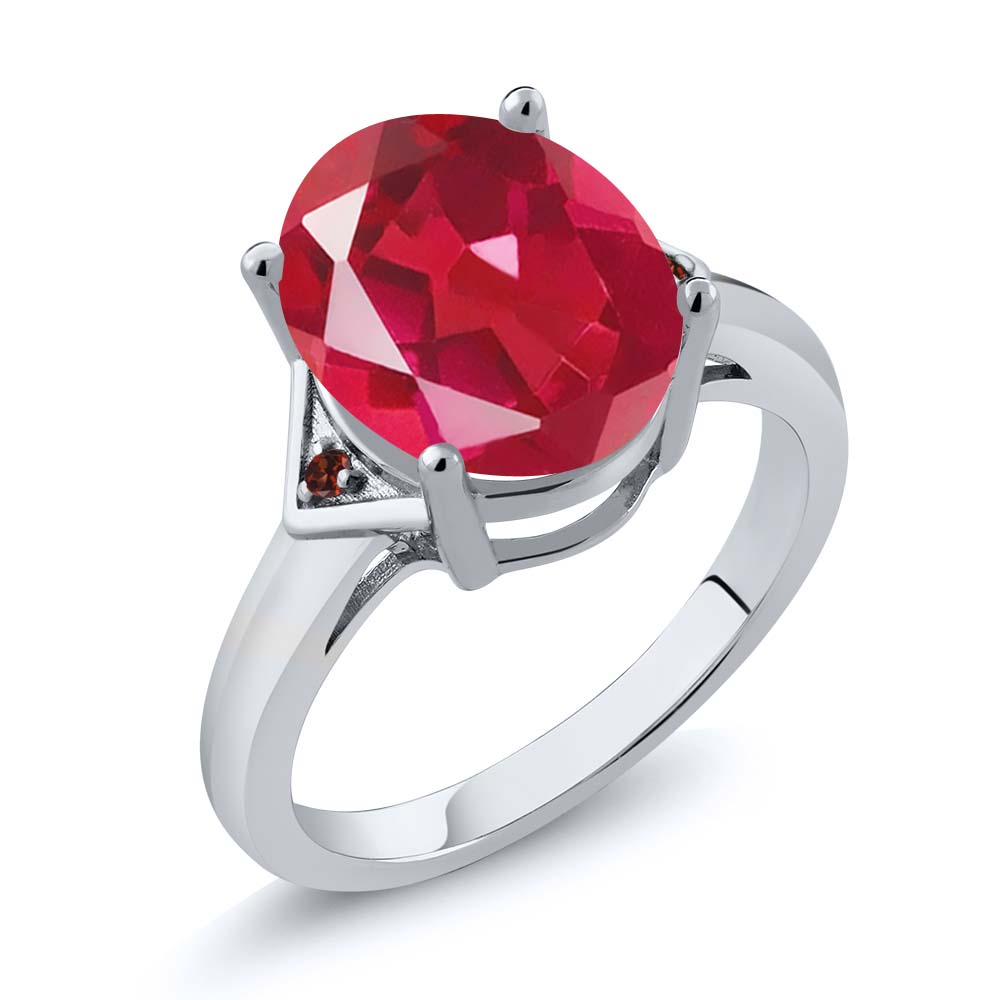 4.02 Ct Oval Last Dance Pink Mystic Quartz Red Garnet 18K White Gold Ring by